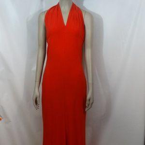 Cache Long Red Halter Dress Medium
